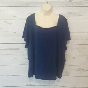 [ WOMAN WITHIN ] SZ 5X BLUE BLOUSE SS